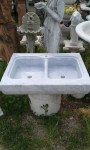 Massive carrara marble kitchen sink whit 2 holes