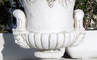 Vaso da giardino in cemento bianco, Vs086