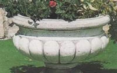 Vaso baccellato in cemento bianco, Vs118