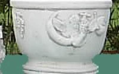 Vaso decorato in cemento bianco, Vs125