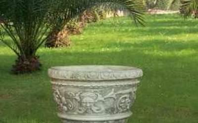vaso in cemento bianco, Vs039A