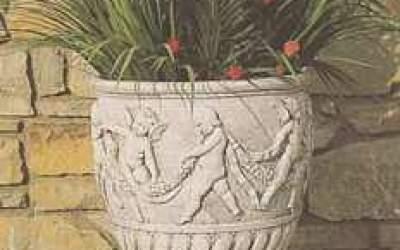 Vaso da giardino in cemento bianco, Vs043