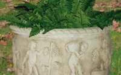 Vaso da giardino in cemento bianco, Vs046