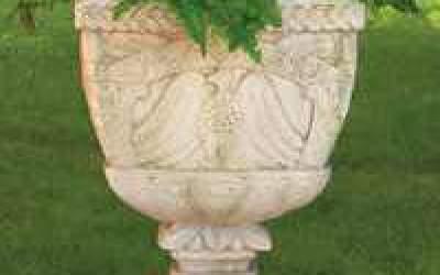 Vaso da giardino in cemento bianco, Vs053