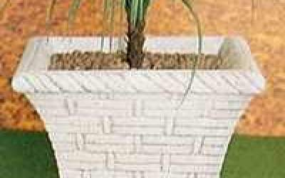 Vaso da giardino in cemento bianco, Vs055