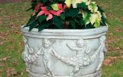 Vaso da giardino in cemento bianco, Vs044