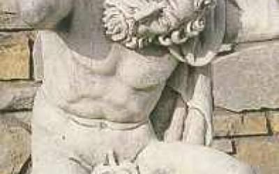 Statua Atlante in cemento bianco, TSA19