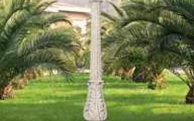lampione in cemento bianco, La01
