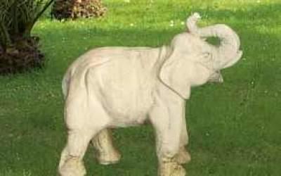 Elefante da giardino in cemento bianco, TA38