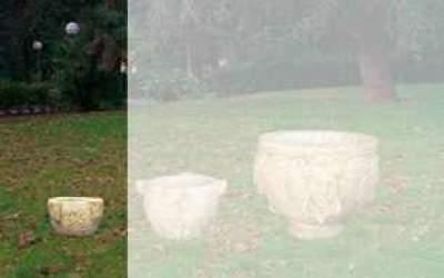 vaso in cemento bianco, Vs040