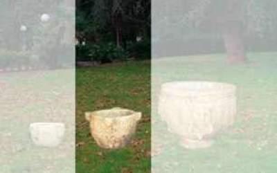 Vaso da giardino in cemento bianco, Vs041