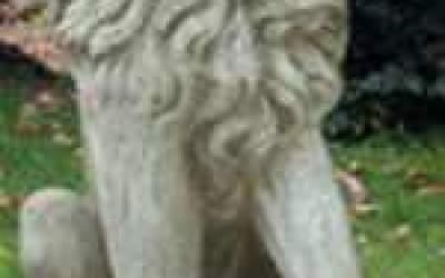 Leone da giardino in cemento bianco, TA57S