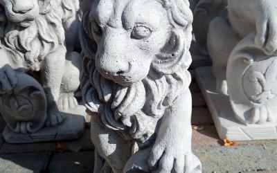 Leone con scudo in cemento bianco, TA71D