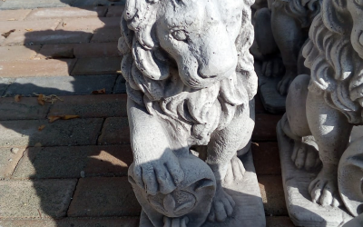 Leone con scudo in cemento bianco, TA71S