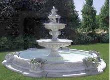 Fontana funzionante con luci e pompa in cemento bianco TF02+kit,