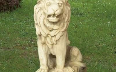 Leone Animale da giardino in cemento bianco,  TA08S