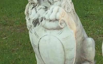 Leone Animale da giardino in cemento bianco, TA09D