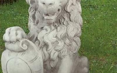 Leone Animale da giardino in cemento bianco, TA09S