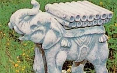 Elefante da giardino in cemento bianco, TA37