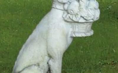 Cane da giardino in cemento bianco, TA11