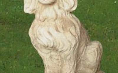 Cane da giardino in cemento bianco, TA12S