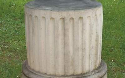 base tonda scannellata cemento bianco, TC65