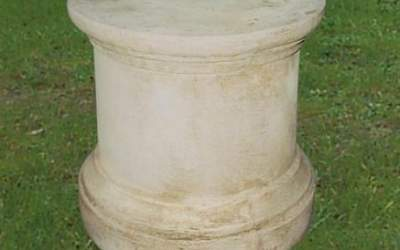 base tonda liscia cemento bianco, TC66