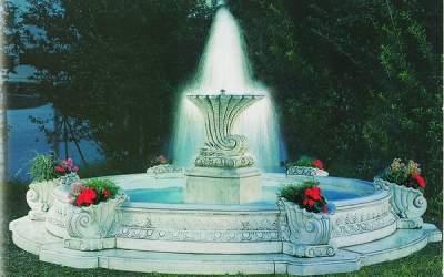 Fontana funzionante con luci e pompa in cemento bianco  Filarete TF01+kit
