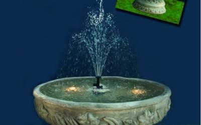 fontana funzionante con luci e pompa in cemento bianco Sforzinda TF23+kit acqua e luci