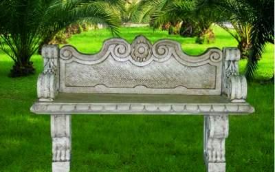 panchina in cemento bianco, Pn02