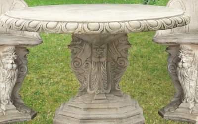 tavolo in cemento bianco da giardino, Pn18B
