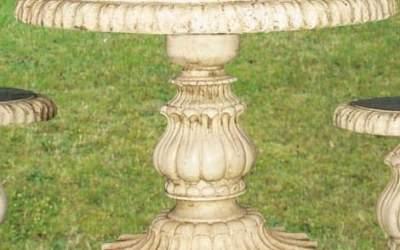 tavolo tondo in cemento bianco da giardino, Pn23B