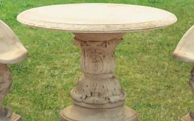 tavolo tondo in cemento bianco da giardino Pn20B